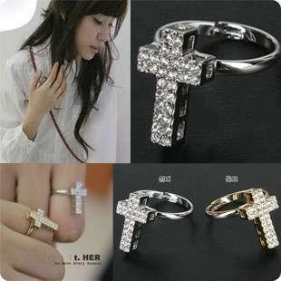 Fashion Cool Silvery Rhinestone Cross Ring 4 lady Girl