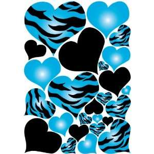 Turquoise Blue Radial Hearts Zebra Print Wall Sticker Decals on a 18in