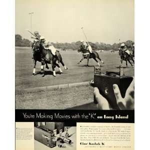1934 Ad Cine Kodak K Film Movie Camera Polo Horses