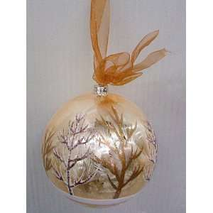 Glass Winter Forest Ball Ornament (Gold Brown) 120mm Gold Brown (Pack