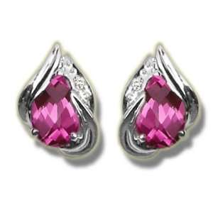 .015 ct 7X5 Pear Mystic Pink Topaz White Gold Earring Jewelry