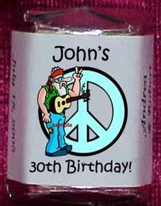 1960s BIRTHDAY PARTY Personalized Candy Wrappers Favors Adult Kids