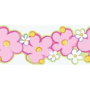 Daisy Pink and Purple Wallpaper Border in Girl Power II