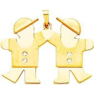 14K Gold The Kids Diamond Double Boys Charm Jewelry
