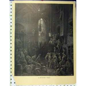 Gustave Dore River Side Street Scene Barrel Print