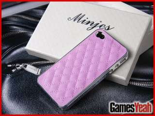 New Pink Deluxe Leather Chrome Case Cover for iPhone 4 4G 4S New in