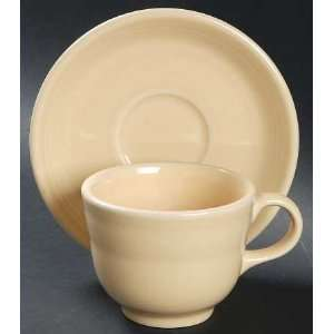 Fiesta Ivory Flat Cup & Saucer Set, Fine China Dinnerware Kitchen