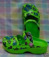 NEW KIDS FUNKY FEET BUTTERFLY CLOGS   LIME GREEN 10 11