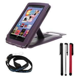 GTMax Purple Leather Case Folio Easy View with Built in Stand