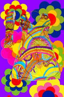 knallbuntes AbbA Retro Kleid Revival 70er Jahre S, M, L