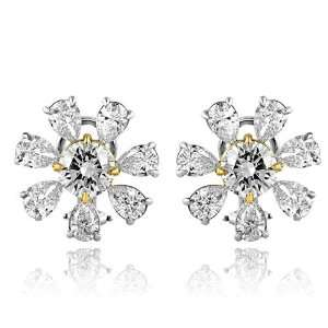 7.55 Ct Round & Pear Cut Diamond Fashion Earrings 18k