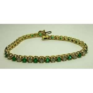 Emerald & Diamond Tennis Bracelet 5.60tcw 14k