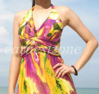 Beach Floral Sundress Vtg 70 Halter Formal Maxi Long Dress 2X