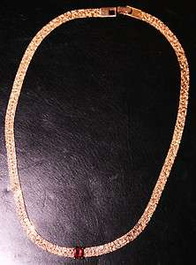 18k HGE Rose Gold Nugget Style Necklace With Large Genuine Garnet New