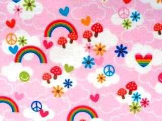 New Retro Look Mushroom Flowers Rainbow Peace Signs Hearts Flannel
