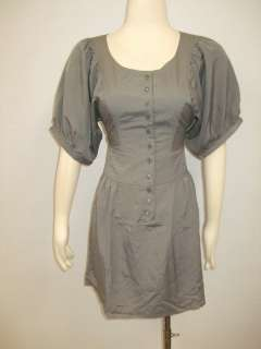 NWOT Princess Closet Anthropologie Grey Party Dress S M L button front