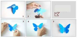 New Art Style Three dimensional DIY Butterfly Wall Clock Clocks Pink