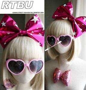 KAWAII HARAJUKU HUGE BIG Metallic Pink Bow TIE Headband