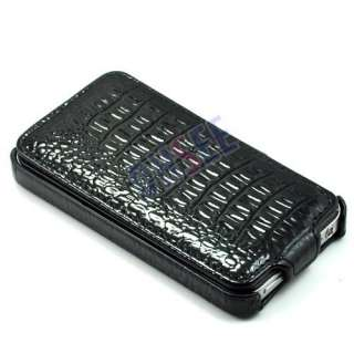 Black Snake Flip Leather Case Cover For APPLE iPhone 4 4S