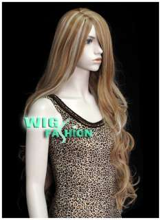 New Long 2 Tone Mixed Blonde Curly Hair Wig MB43