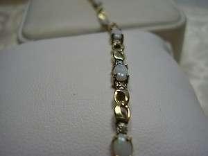 Nice 10K Yellow Gold Opal Tennis Bracelet