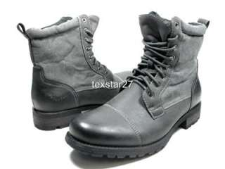 Gray Military Combat Style Calf High Lace Up Boots Polar Fox by D Aldo
