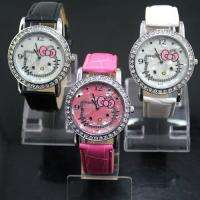 Nice 3PCS HelloKitty Lady Girl Women Crystal Quartz Wrist Watches, K7