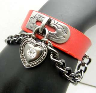 Heart Lock Red Leather Cuff Bracelet Wristband Gothic Punk Rock Lolita