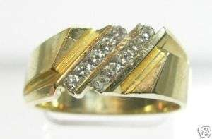 14K Solid Yellow Gold & 40 pts.Diamonds Mans Ring NEW