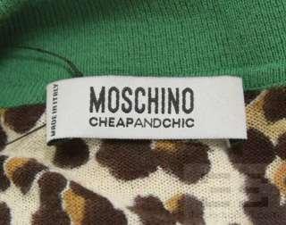 Moschino Cheap & Chic Tan Leopard Print & Green Trim Polo Shirt Size