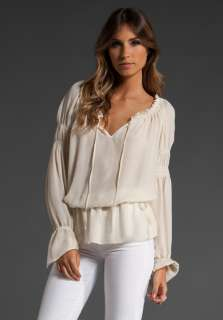 HAUTE HIPPIE Double Silk Georgette Smocked Pleasant Blouse in Swan at