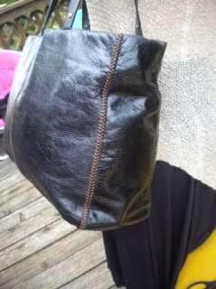 Sigrid Olsen Extra Large Black Leather Tote Bag Purse