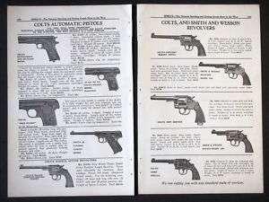 1925 COLT Catalog 2 Page Handgun Ad Pistol Revolver gun defense police