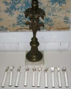 Antique Brass Marble Girandole Candlesticks with Glass Prisms