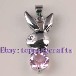 FREE SHIP 20pcs Nice Bunny Pink Crystal Charms TP5911