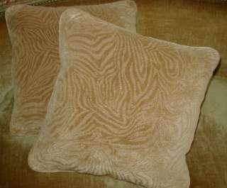 Linen Velvet Throw Pillows Custom Designer Fabric Set 2 New Tan