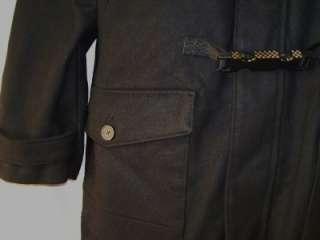 Mens INC NWT Black Hooded Wool Blend Buckle Coat S M L