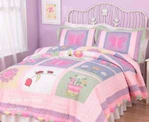 GIRLS PINK BUTTERFLY LADYBUG ANNAS DREAM 8pc QUILT FULL