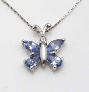 14k White Gold Tanzanite & Diamond Butterfly Necklace