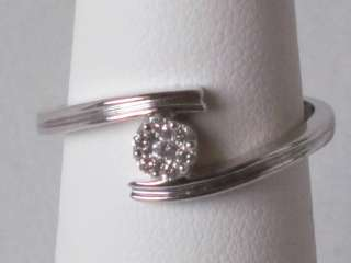NEW SOLID 10K WHITE GOLD GENUINE DIAMOND PROMISE RING $559