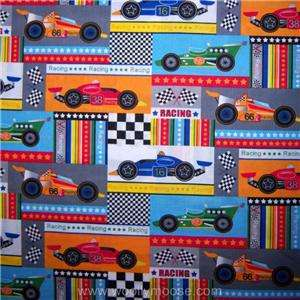 HALF Yard RACE CAR Stripes CHECKER FLAG Star RACING MBT Blue Fabric 1