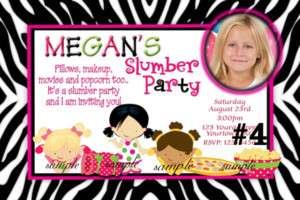 Slumber Party Personalized Photo Birthday Invitation