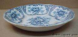Antique Flow Blue Bowl w/ Flowers Bonn Meissen Germany