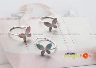Women New Trendy Vintage Cute Butterfly Ring Pink Purple Blue