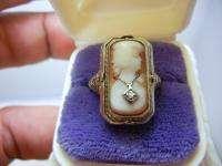 SOLID WHITE GOLD FILIGREE DIAMOND RUBY STONE CAMEO FLIPPER RING