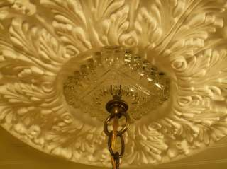30s DECO LEMON DROP W/VASELINE GLASS STEM CEILING LIGHT FIXTURE