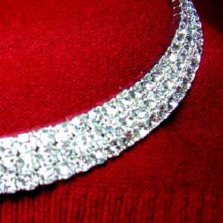 ADDL Item  3 row rhinestones crystals Necklace bridal