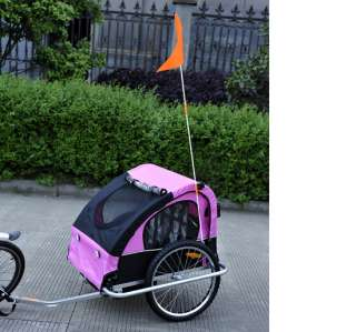 2IN1 DOUBLE KIDS BABY BIKE BICYCLE TRAILER JOGGER STROLLER Rose Black