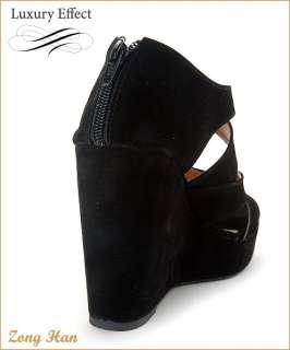 Womens Faux Suede Zipper High Heels Platform Wedge Strap Sandals in