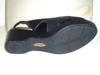 EASY SPIRIT Womens Shoes Black Leather Sandals Size 6W